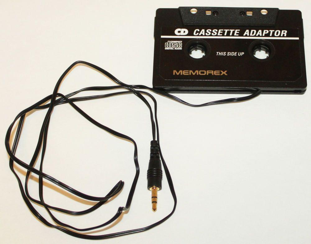 MEMOREX CASSETTE ADAPTOR STEREO PLUG HEADPHONE JACK CORD CD MP3 PLAYER ADAPTER #Memorex