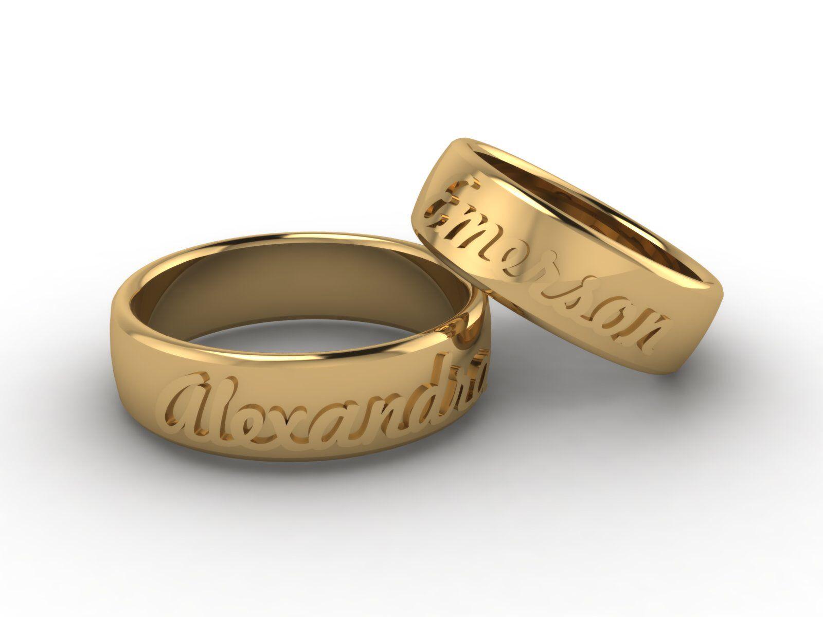 Alianças De Casamento Personalizada Com Nomes One Day Gold