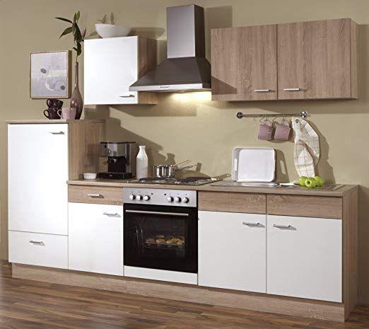 Küchenzeile 270 cm Komplett Küche mit Kühlschrank Herd