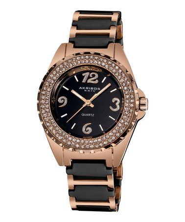 Another great find on #zulily! Black & Rose Goldtone Crystal Bezel Bracelet Watch #zulilyfinds
