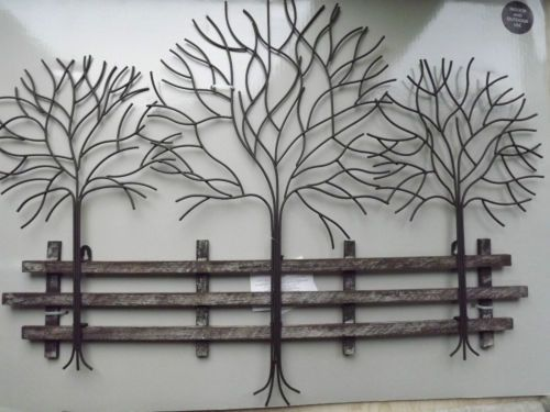 Large Rustic Distressed Metal Row Of Trees Wall Art With Wooden Fence 75 X 55cm Metal Tree Wall Art Art Gallery Wall Metal Wall Art