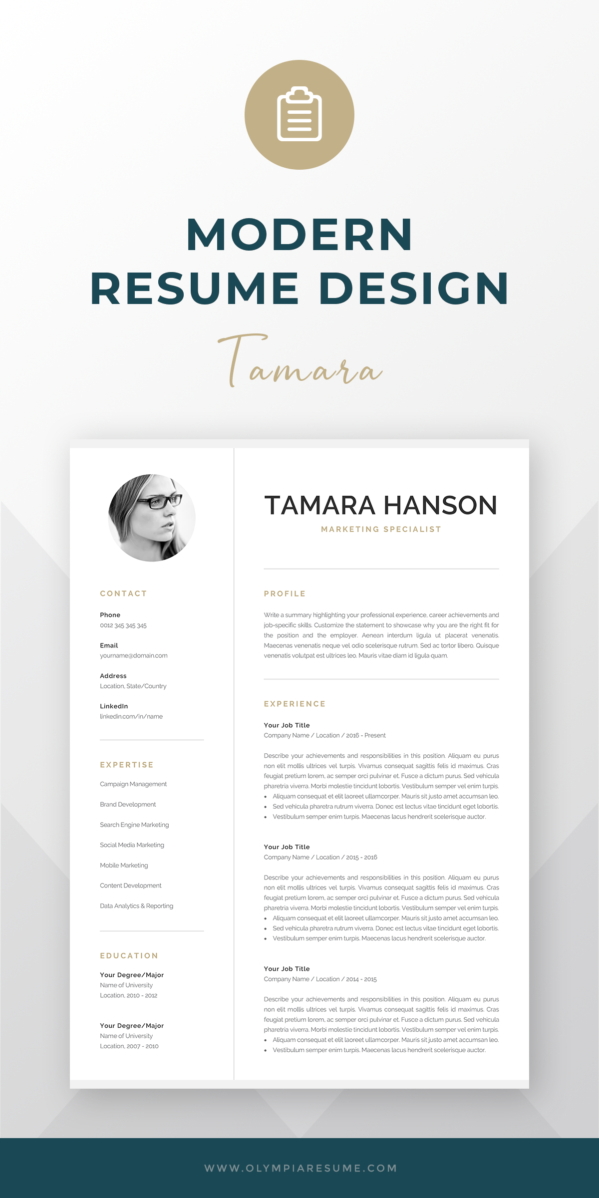 Modern Cv Template With Photo 1 2 Page Resume Professional Photo Resume For Word Mac Pages Marketing Cv Instant Download Tamara Modern Cv Template Cv Template One Page Resume Template