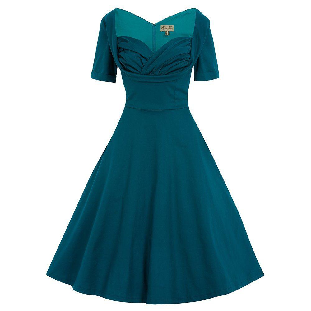 Sloane Teal Swing Dress | Vintage Style Dresses - Lindy ...