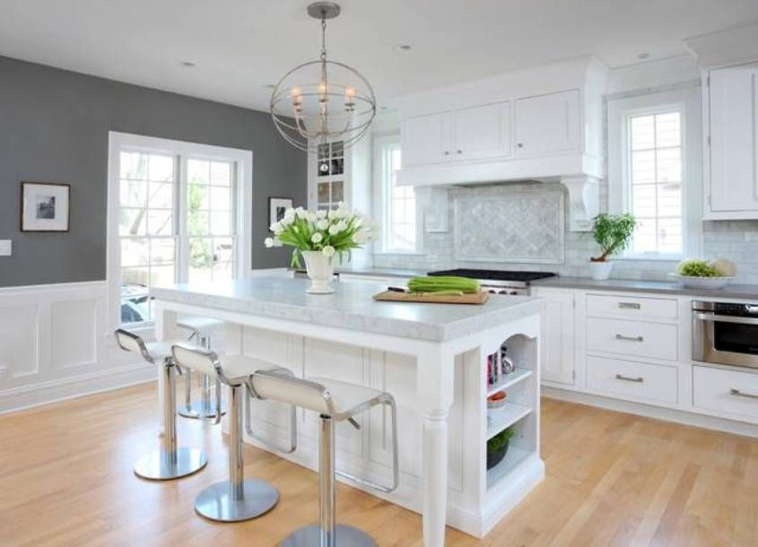 Grey Kitchen Walls White Cabinets soothing grey kitchen colors with white cabinets and wainscoting