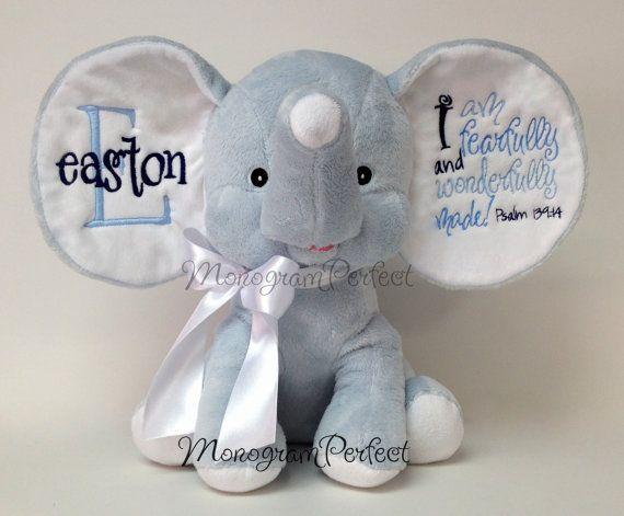 Personalized Blue Floppy Ear Stuffed Elephant Remember