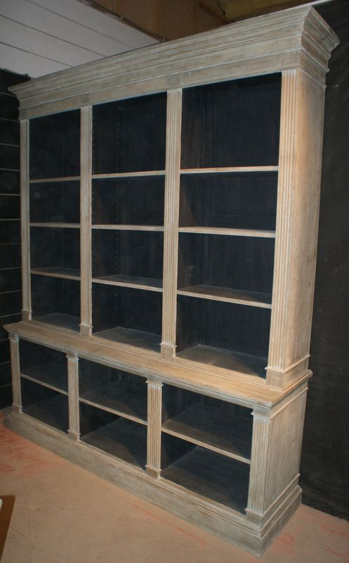 Wonderful Architectural Bleached Oak Bookcase With Fluted Columns And Adjustable  Shelves. 1840.