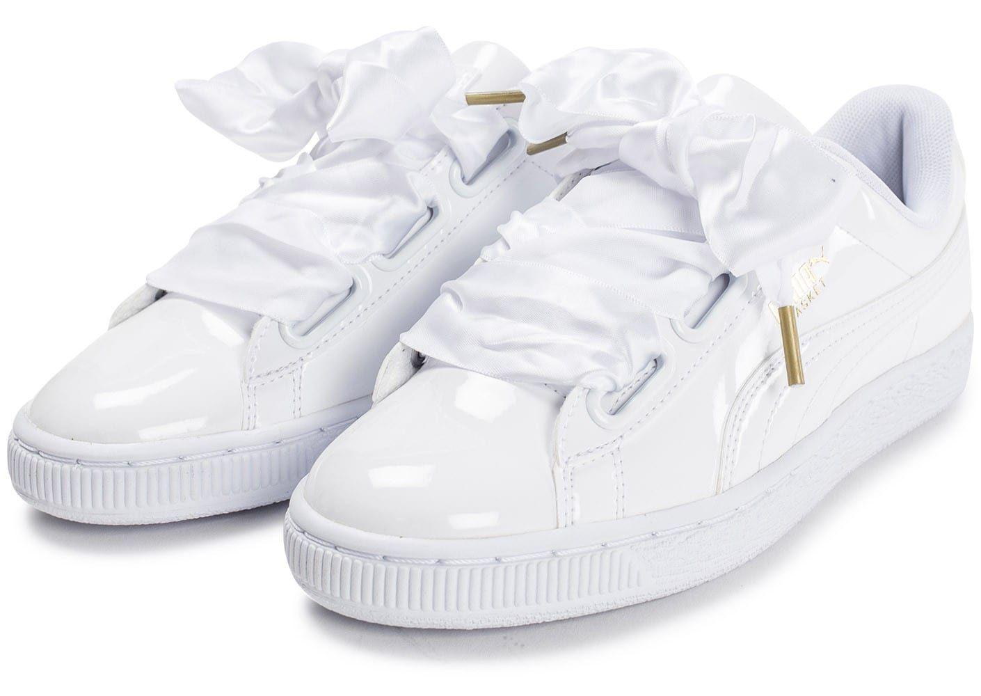 more photos 6656e 36933 Chaussures Puma Basket Heart Patent blanche vue intérieure | Good ...