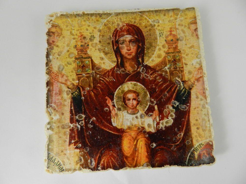 Greek virgin mary jesus theotokos icon stone tile plaque handmade wall decor