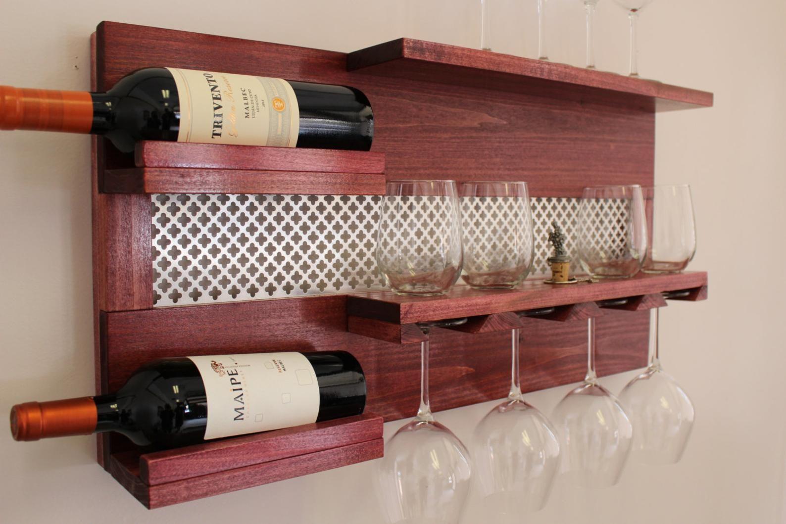 Stunning Wall Mounted Wine And Liquor Rack With Shelves And Etsy Wine Rack Wall Wine Glass Shelf Liquor Shelf