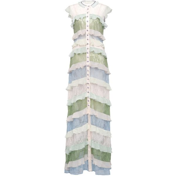 Giuseppe Di Morabito     Multicolor Laces And Volant Shirt-Like Long... ($1,310) ❤ liked on Polyvore featuring dresses, multi, ruffle dress, flounce dress, frilly dresses, multi colored maxi dresses and multi color maxi dress
