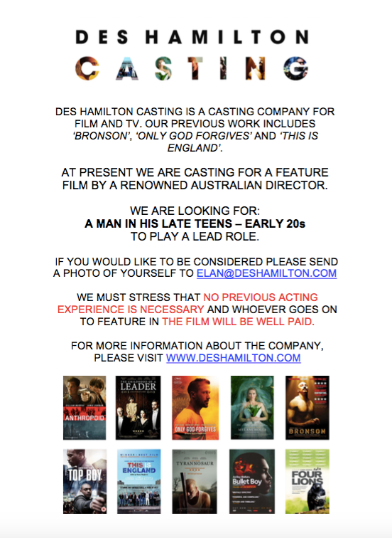 Job Major Feature Film Casting Call For The Lead Speaking Role
