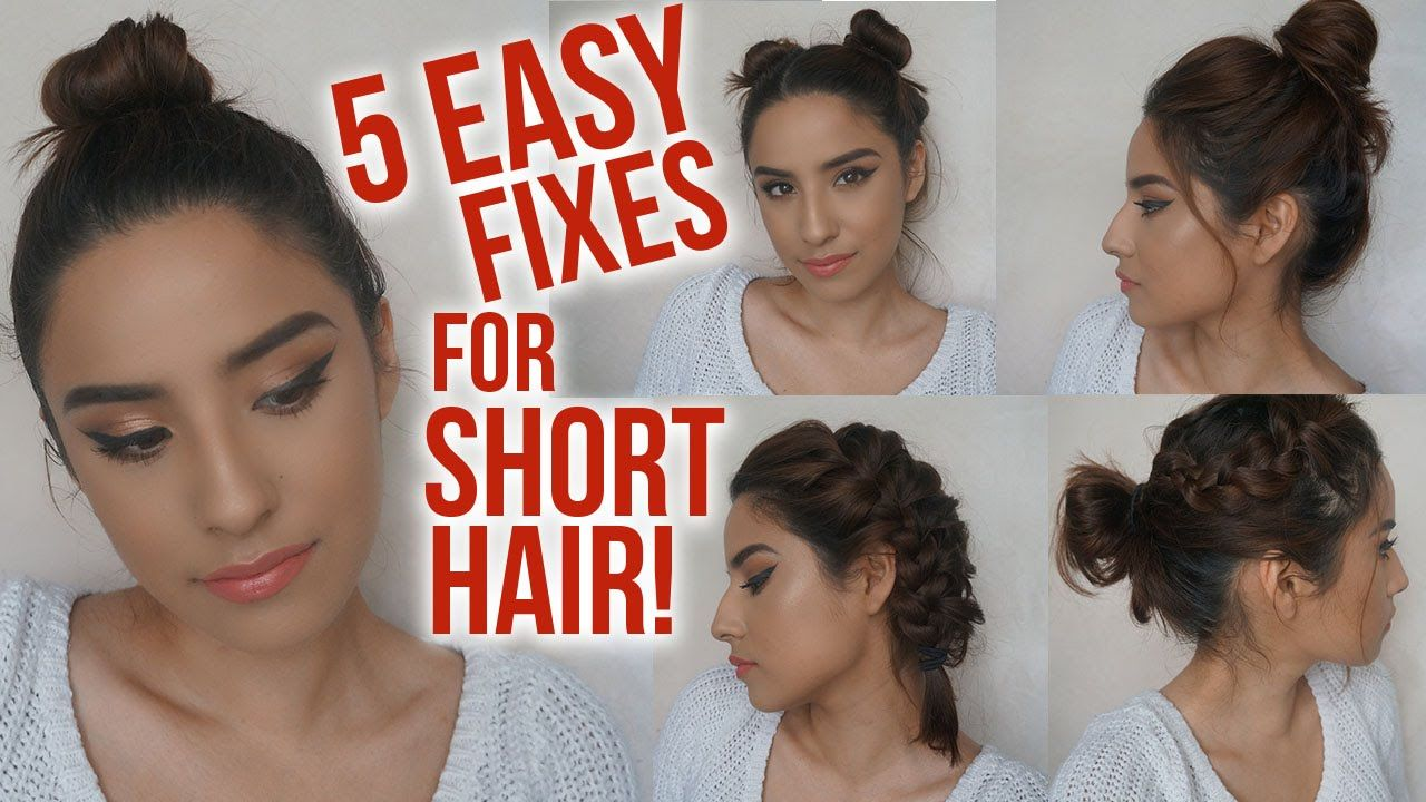 5 Easy Hairstyles For Short Hair No Heat Lazy Day Running Late Ha Lazy Hairstyles Short Hair Styles Easy Cute Hairstyles For Short Hair
