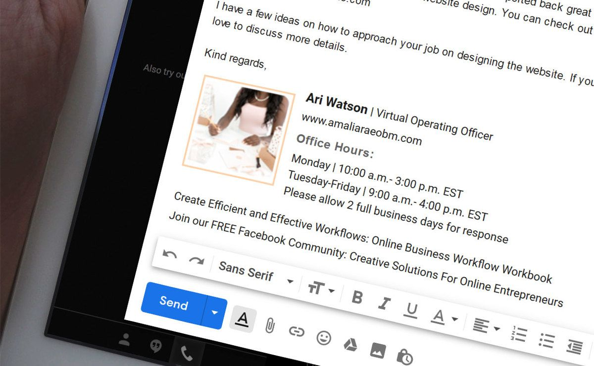 Email signature for Ari Watson Virtual Operating Officer