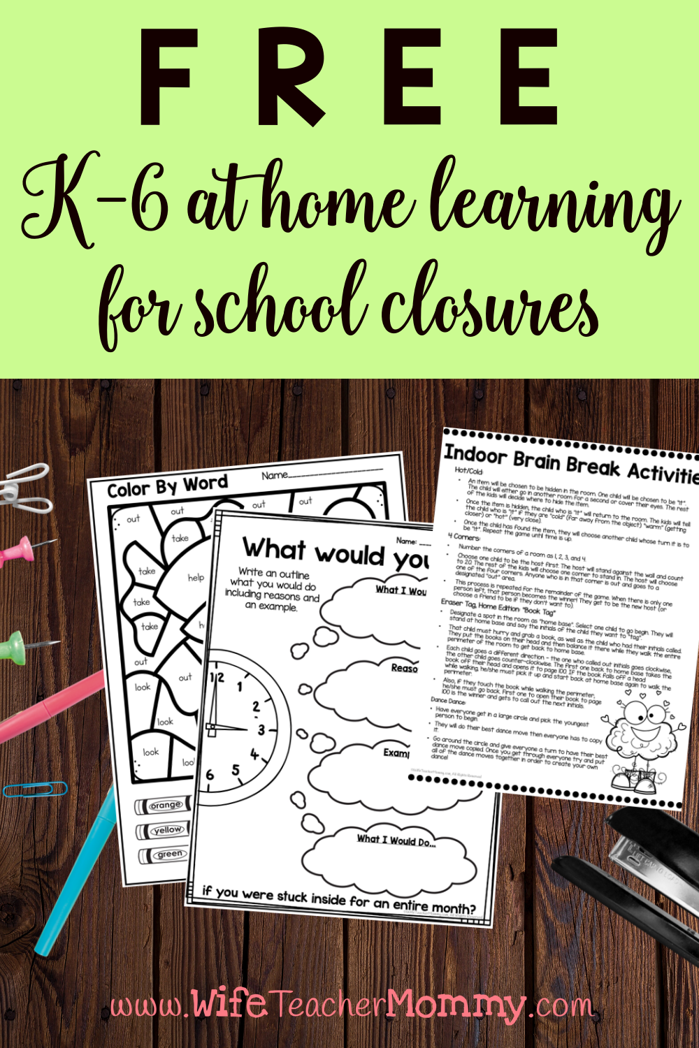 Photo of K-6 At Home Learning Freebie for School Closures