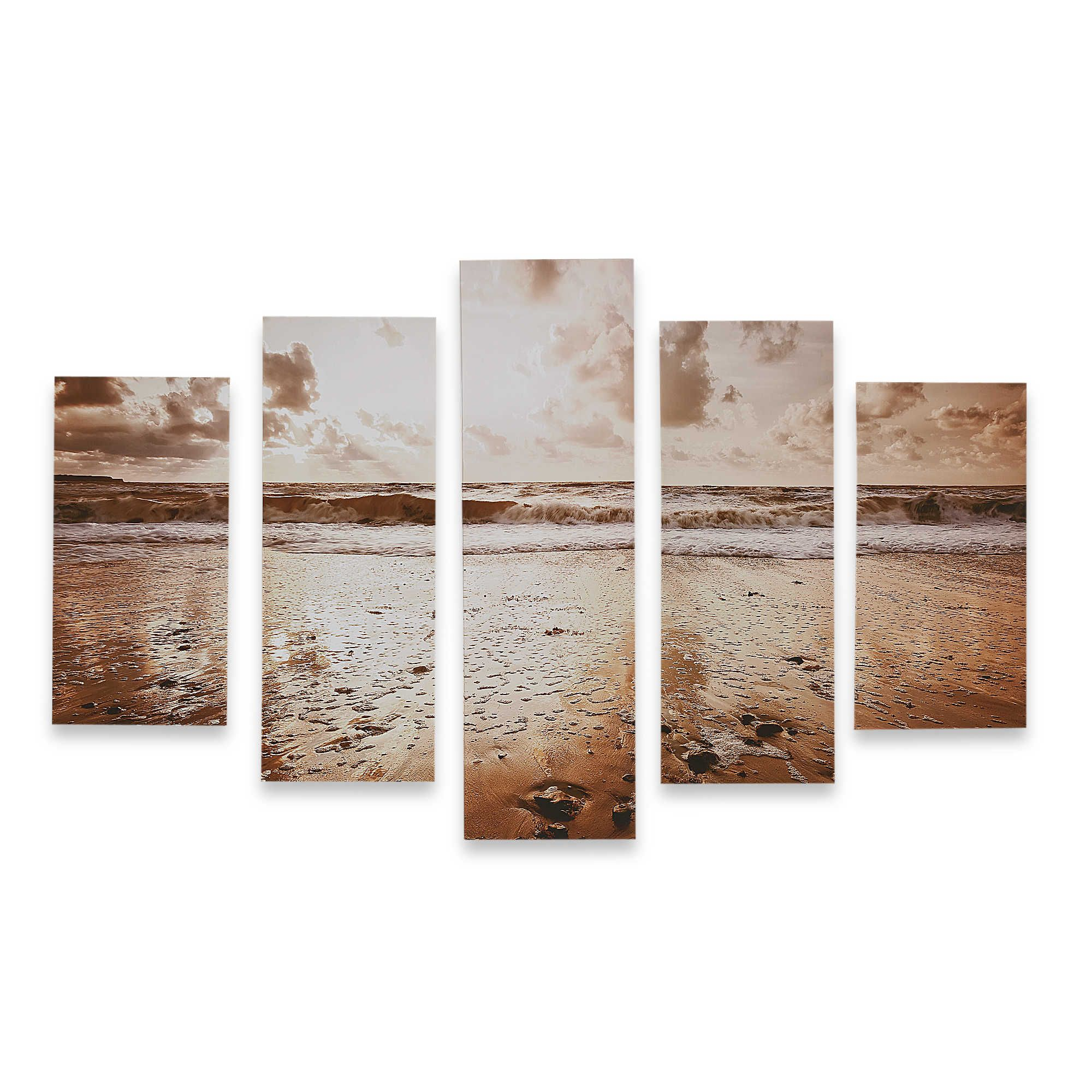 Graham & Brown 5 Piece Sunrise Beach Printed Canvas Wall Art Bed