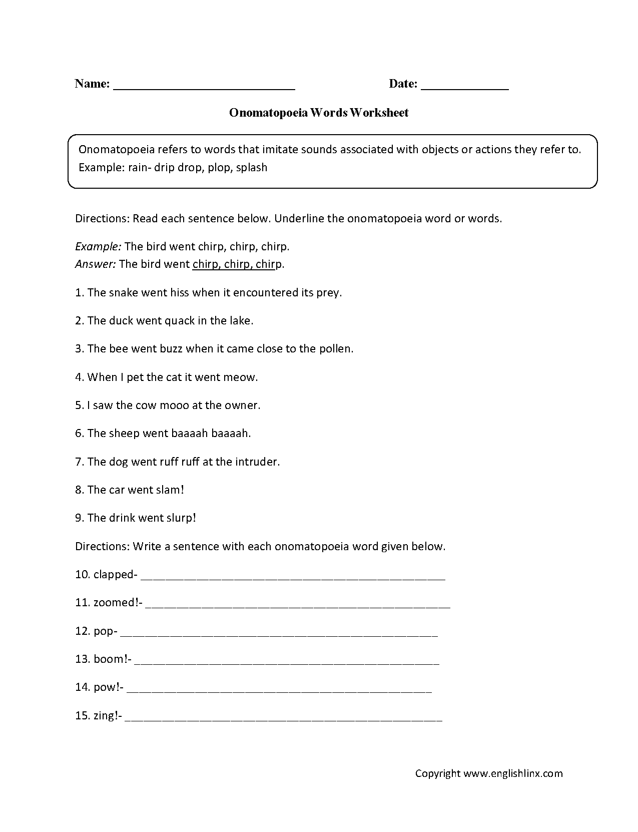 medium resolution of Englishlinx.com   Onomatopoeia Worksheets   Figurative language worksheet