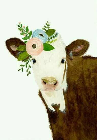 Art Cow With Flowers Aquarelle Vache Animaux De La Ferme Bebe