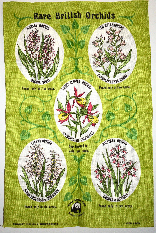 Rare British Orchids Tea Towel Vintage Lady's Slipper