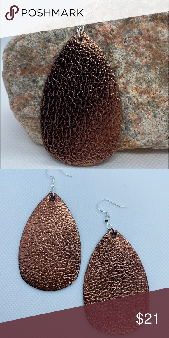 FRIDAY SPECIAL Copper Leather Teardrop Earrings Copper Leather Teardrop Fashion Earrings with Sterling Silver hooks and jump rings Lightweight and gorgeous none Jewelry E...