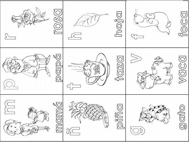 Abecedario Ilustrado Loteria De Letras Para Colorear