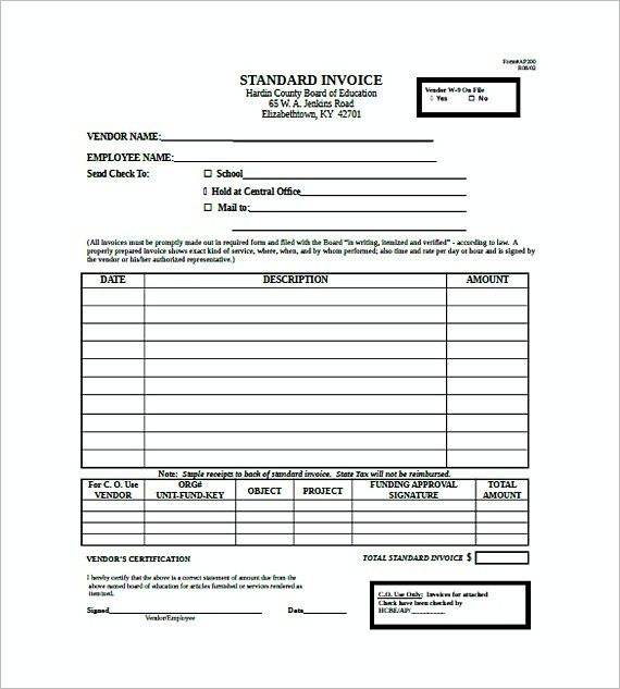 Standard Invoice For Hardin County Board Of Education  Standard