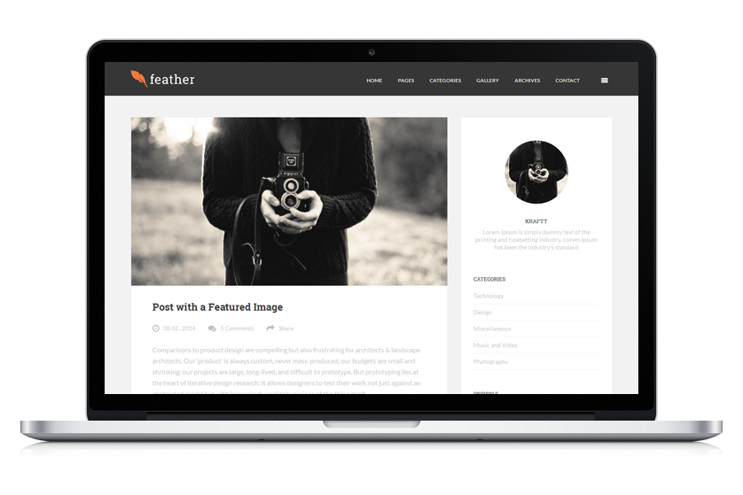 Feather - Clean Flat Responsive WordPress Blog Theme | Wordpress ...