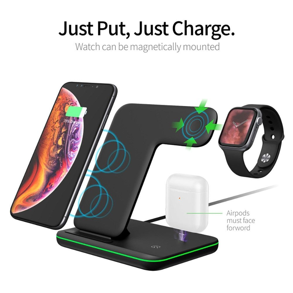 3 In 1 15w Qi Wireless Charger For Iphone Xs Xr X 8 11 Samsung S10 S9 Fast Charging Dock St In 2020 Phone Charging Station Cell Phone Charging Station Wireless Charger