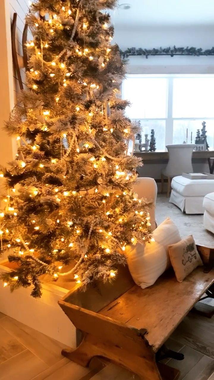 Christmas Cottage Decor #christmasdecor #christmastree #christmas #farmhousechristmas #fletchercreekcottage #diytreecollar #treeskirts #holidaydecor