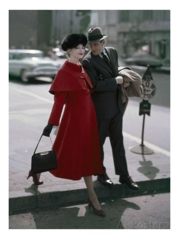 Glamour - September 1956 - Couple Stepping off of a Curb Poster Print by Sante Forlano at the Condé Nast Collection