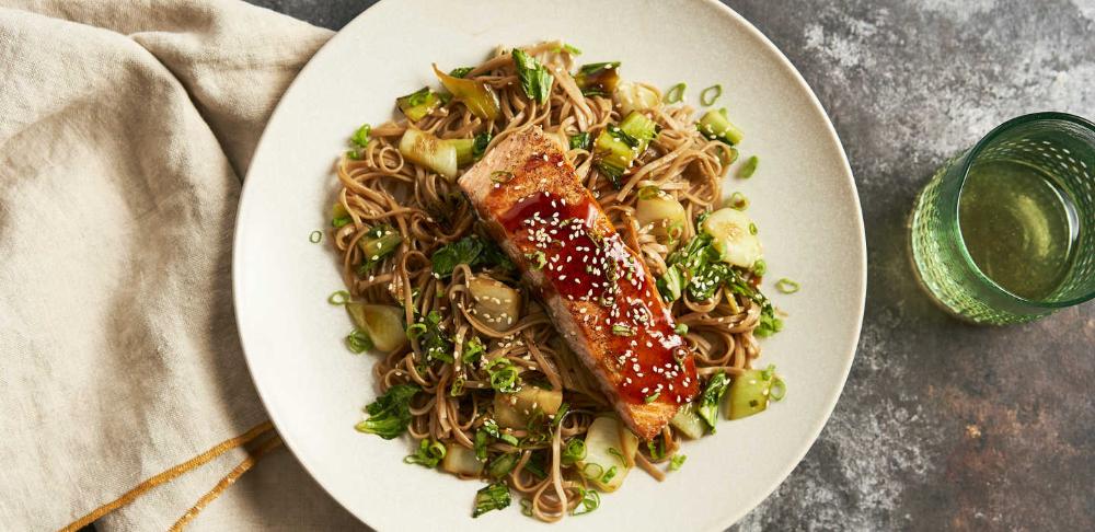 Teriyaki Salmon with Soba Noodles and Bok Choy #teriyakisalmon Teriyaki Salmon with Soba Noodles and Bok Choy | Plated | Meals Worth Making #teriyakisalmon