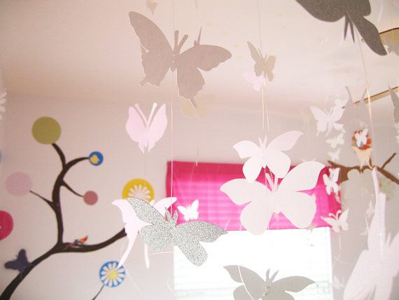 8 Strands White Butterfly Hanging Ceiling Hanging Paper Art Nursery Baby Wedding Decor Baby Showe 3d Butterfly Wall Art Pink Nursery Butterfly Wall Art