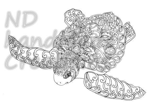 Paisley Doodle Turtle N3 Sea Marine Pattern Printable Coloring Book Sheet Adults Children PDF JPG Instant