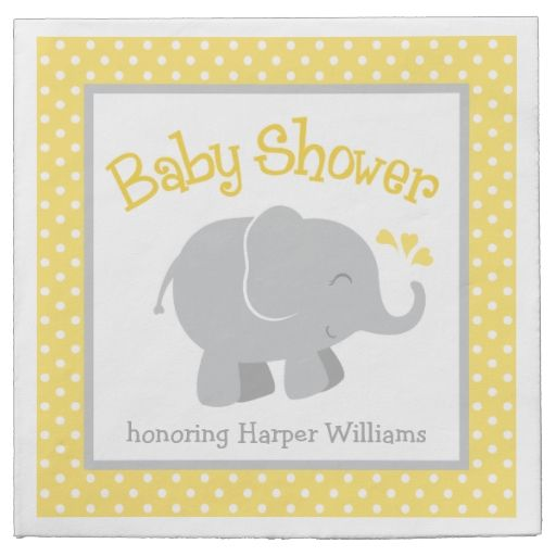 Elephant Baby Shower Napkins | Yellow and Gray Paper Napkins