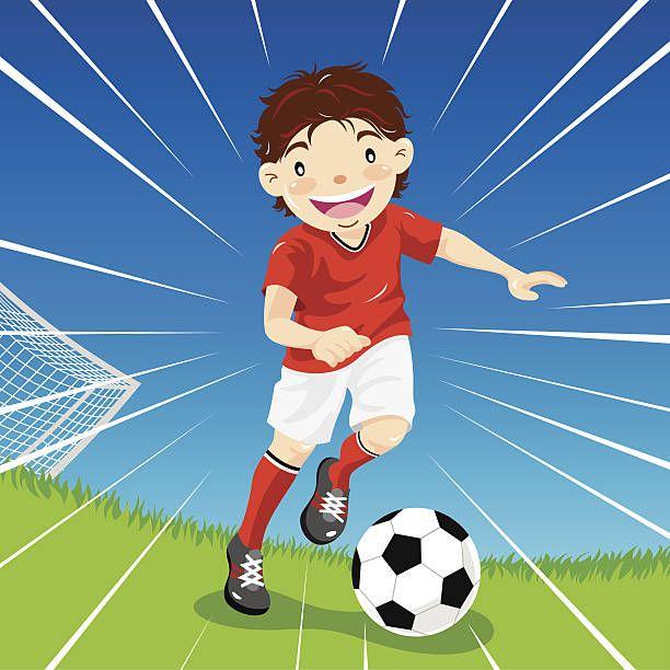 Teenage Boy Soccer Dribbles Down The Field Vector Art Illustration Illustration Vector Art Illustration Soccer