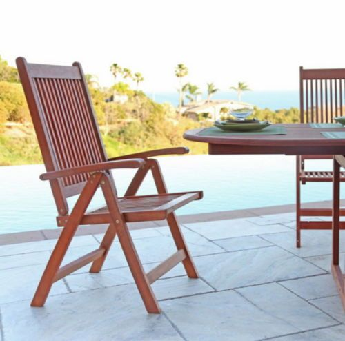 Classic Reclining Lounge Chair Eucalyptus Wood Outdoor Furniture Natural  Finish