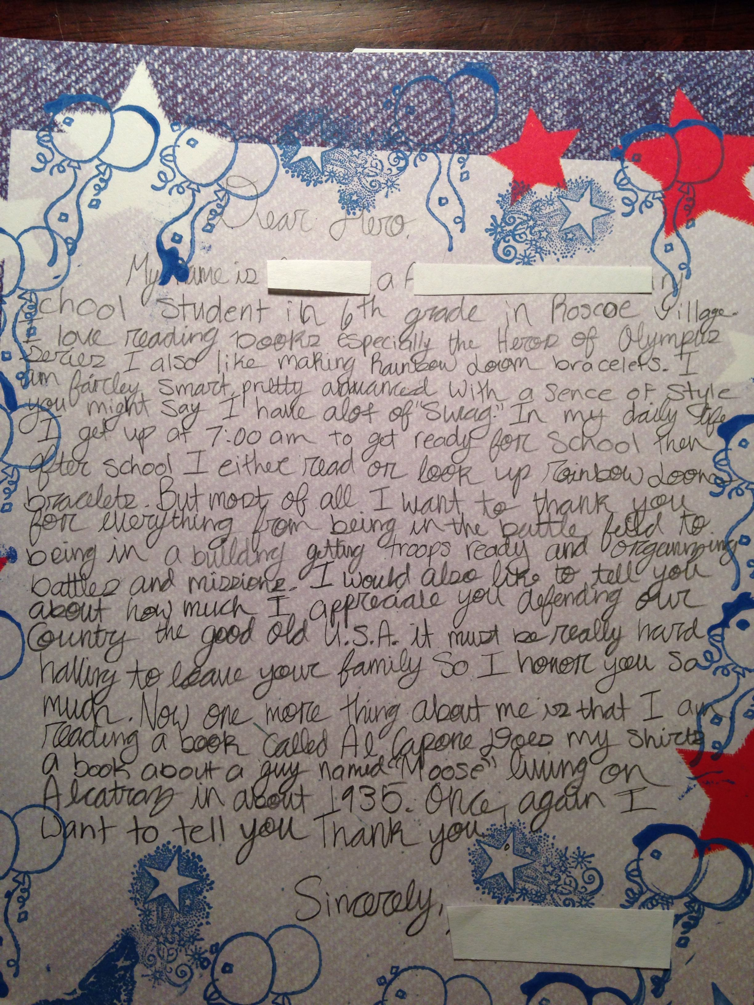 6th Grade Student Letter Of Support To Deployed Troops Letters For Kids Operation Gratitude Troops