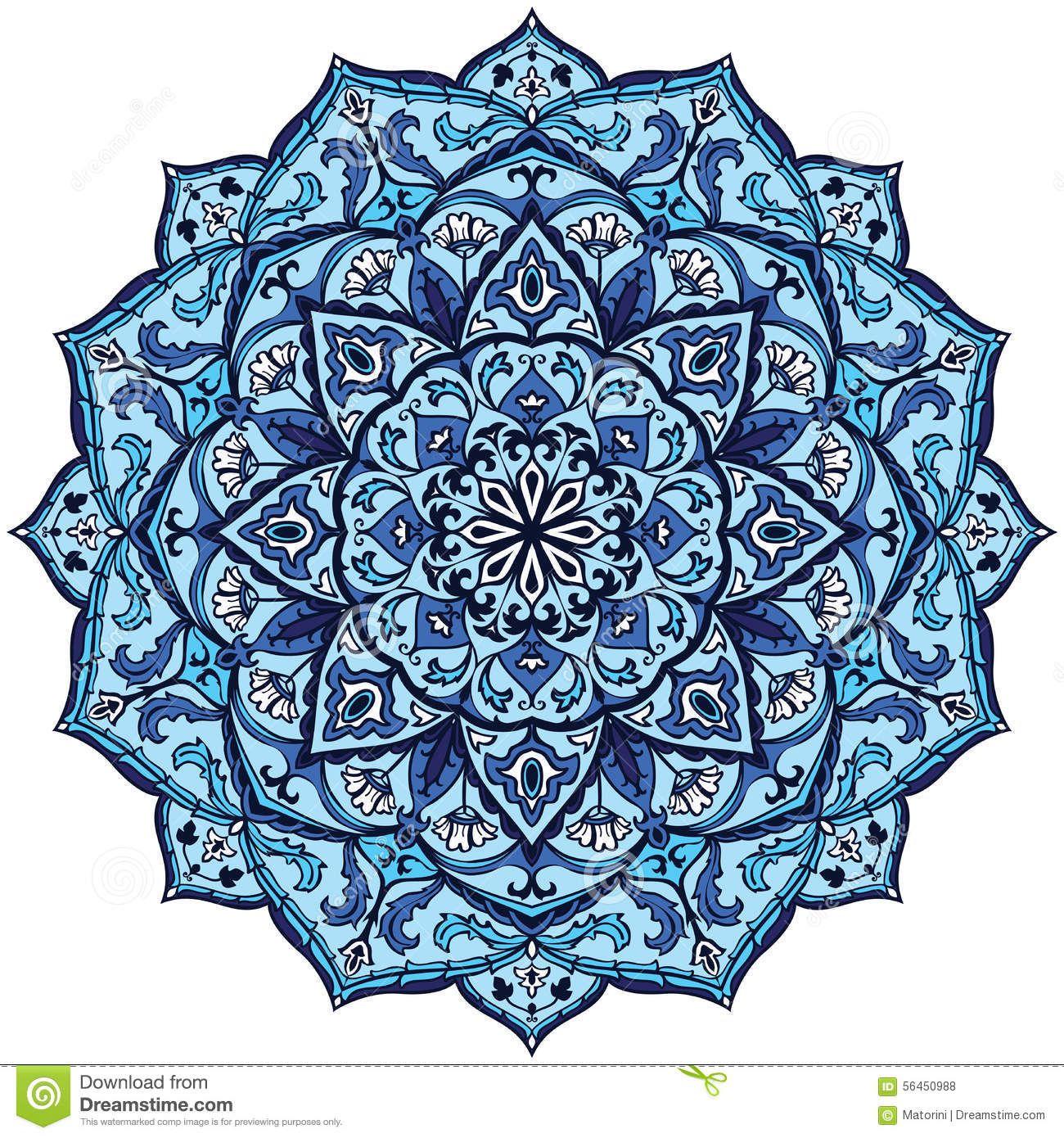 Mandala De Bleu De Vintage Illustration De Vecteur Image 56450988 Decor Islamique Mandala Illustration