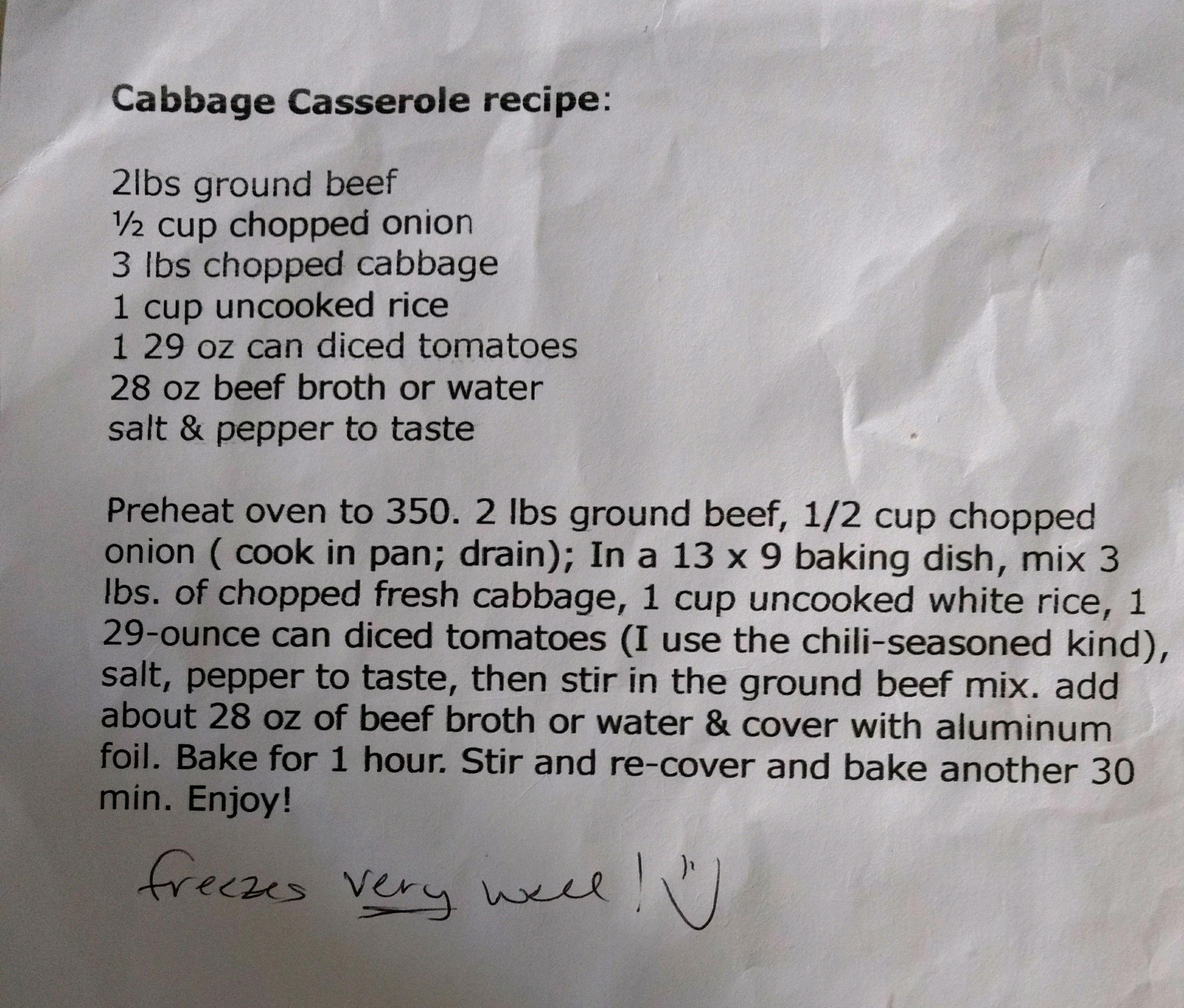 Brendas cabbage cassarole cabbage casserole recipes