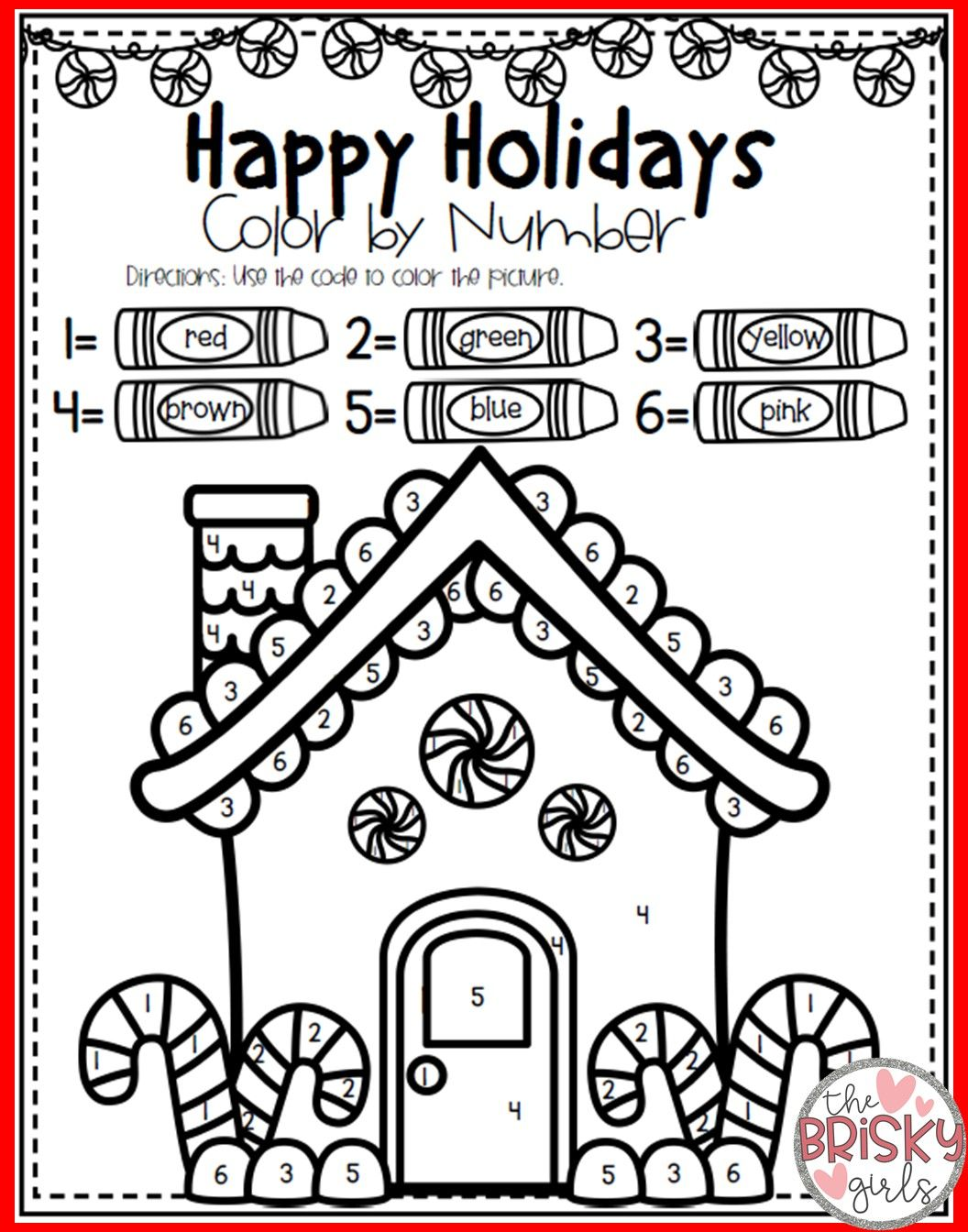 Christmas Coloring Pages (Color By Number) Christmas
