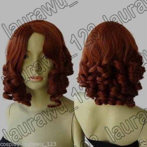 13 in Long 32cm Medium Spiral Curly Dark Copper Red Cosplay Wig Free Shipping | eBay