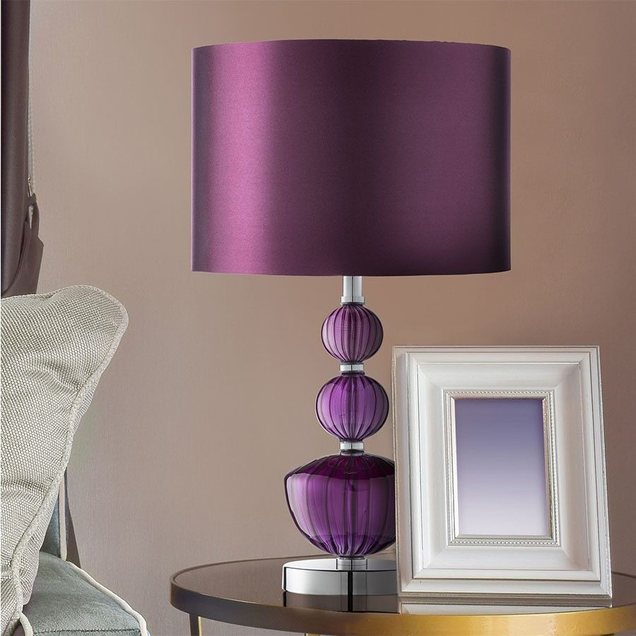 Chrome Glass Table Lamp Purple Colour Shade Living Room Bedroom Lighting Decor Bedroom Decor Lights Purple Table Lamp Lamp
