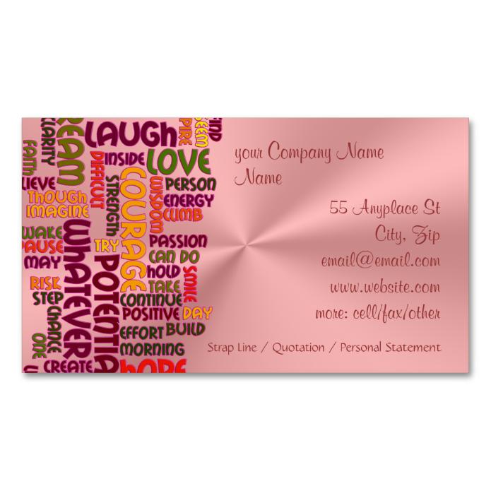 Motivational Words #1 positivity, pink chrome-look Business Card