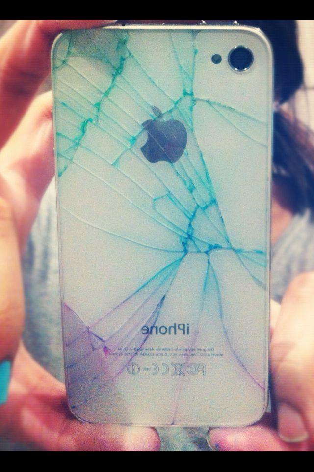 cracked iphone 4 sharpie mug
