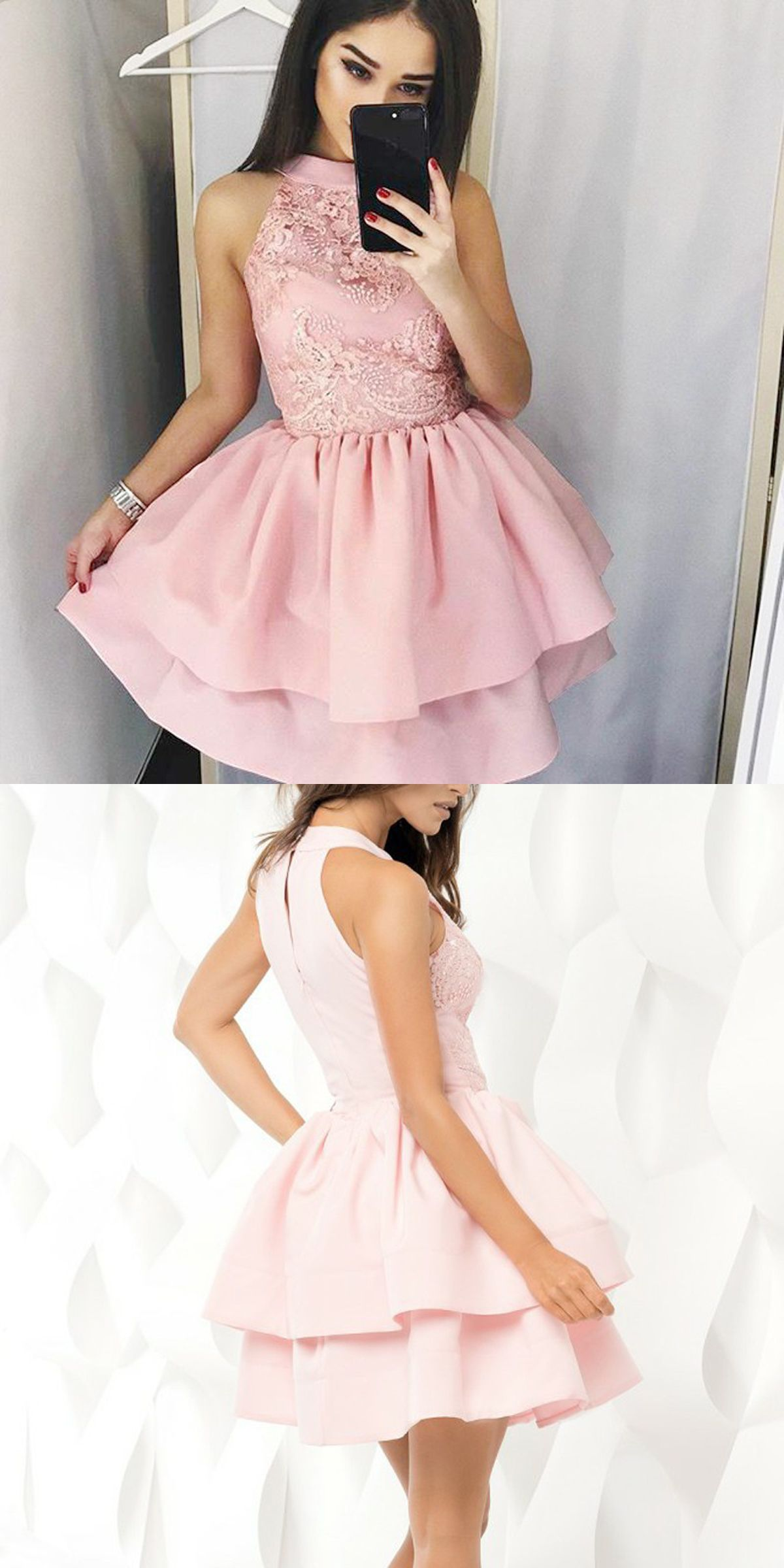 a37e5311405 A-Line Round Neck Short Tiered Pink Satin Homecoming Dress with Lace