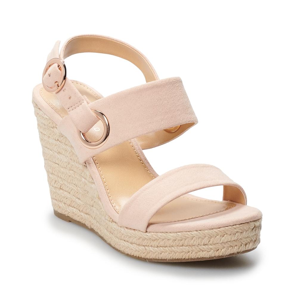 LC LAUREN CONRAD Wedge Sandals Womens Sz 10 Open Toe