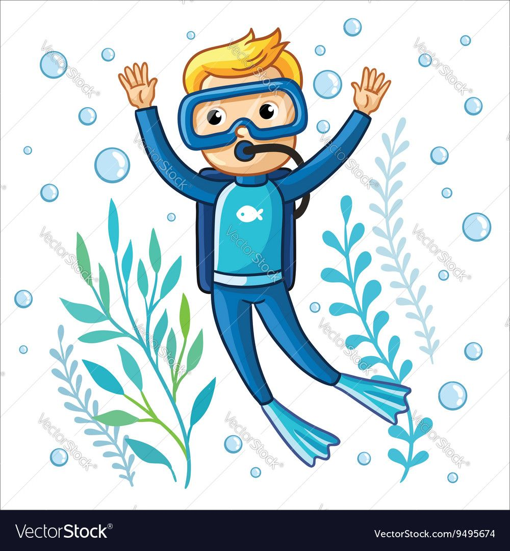 Young Diver Swims Under Water Among Seaweed And Air Bubbles On A White Background Cute Vector Illustration Of A Child Diver Bubble Drawing Vector Illustration