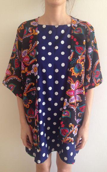 Kimono Preto Floral (TAM UNICO)