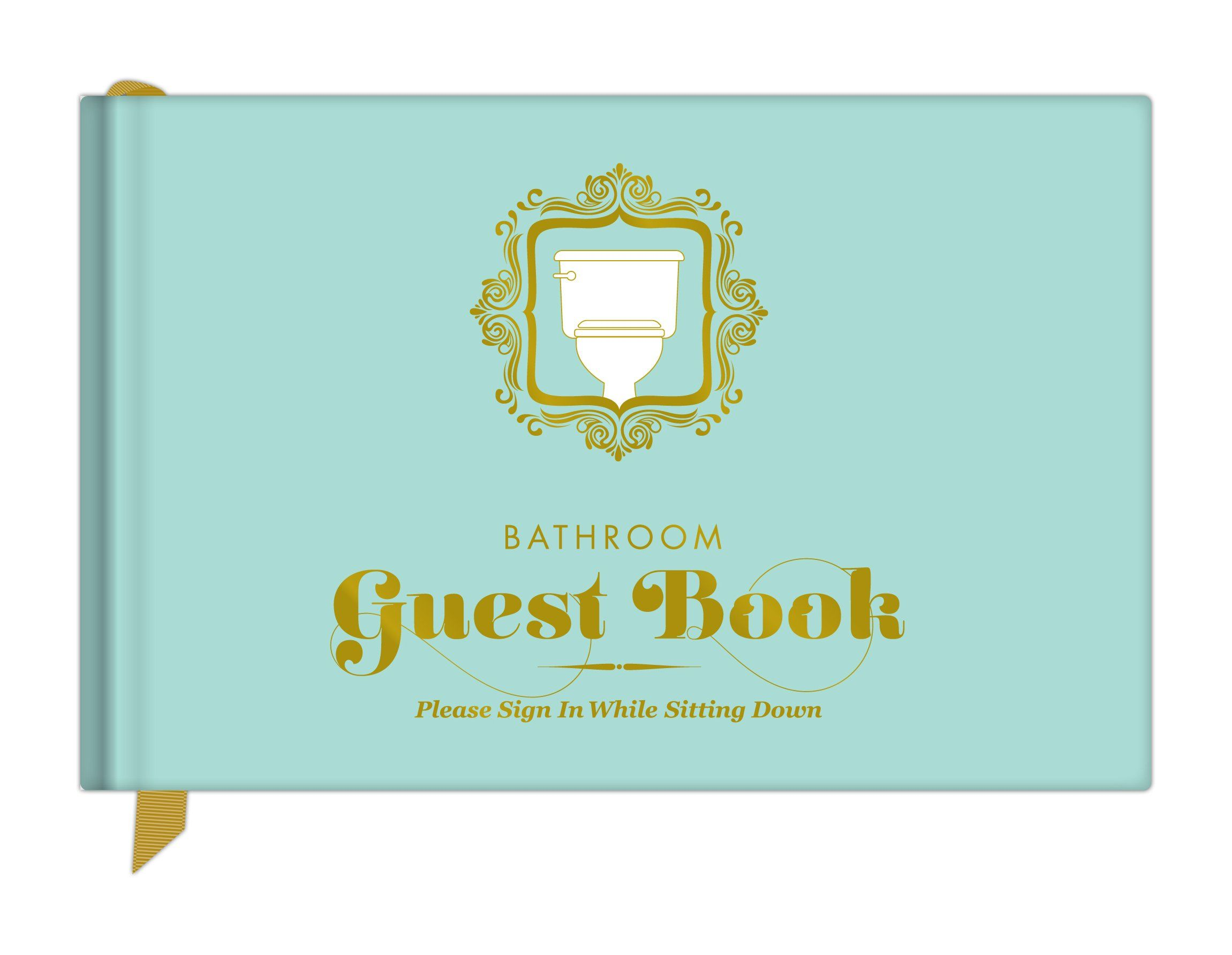 Knock knock bathroom guest book with images unique