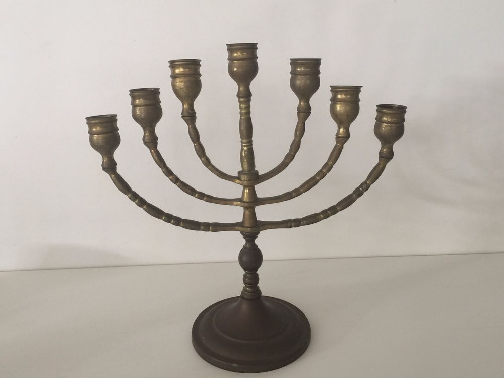 659075734 Vintage Brass Jewish Menorah Candelabra 7 Arm Branch Candle Holder ...