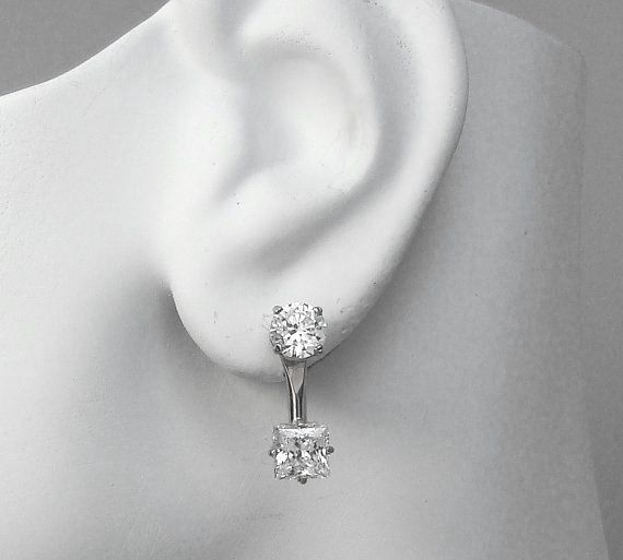 14k White Gold Earring Jackets Diamond Ear Jacket For Studs Radiant